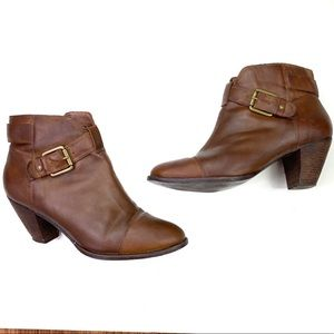 Corso Como Brown Leather Buckle Ankle Booties 9